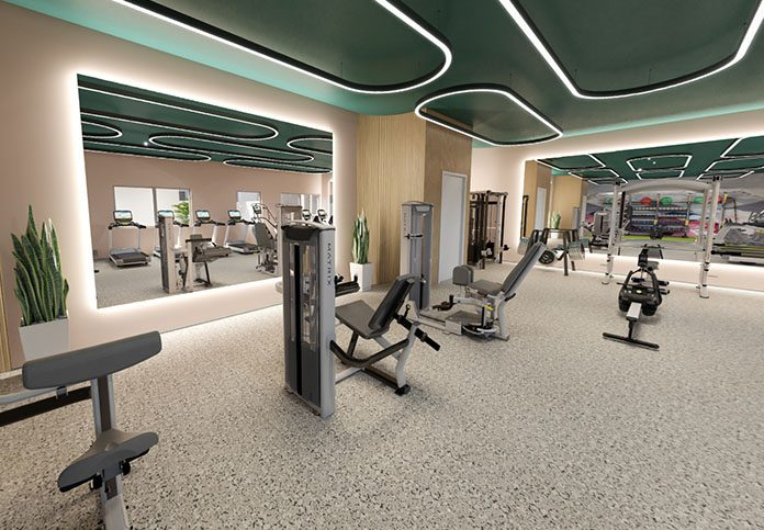 Fitness center with workout equipment and treadmills
