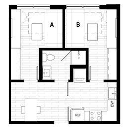 Rendering for 2X1 Murphy A floor plan