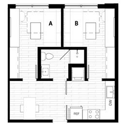 Rendering for 2X1 Murphy A Oasis floor plan