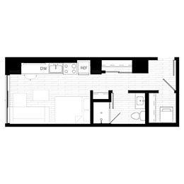 Rendering for Studio 1 floor plan